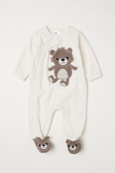 Velour all-in-one pyjamas - White/Teddy bear - Kids | H&M