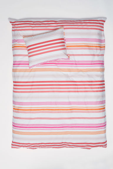 Striped duvet cover set - White/Pink striped -  | H&M CN