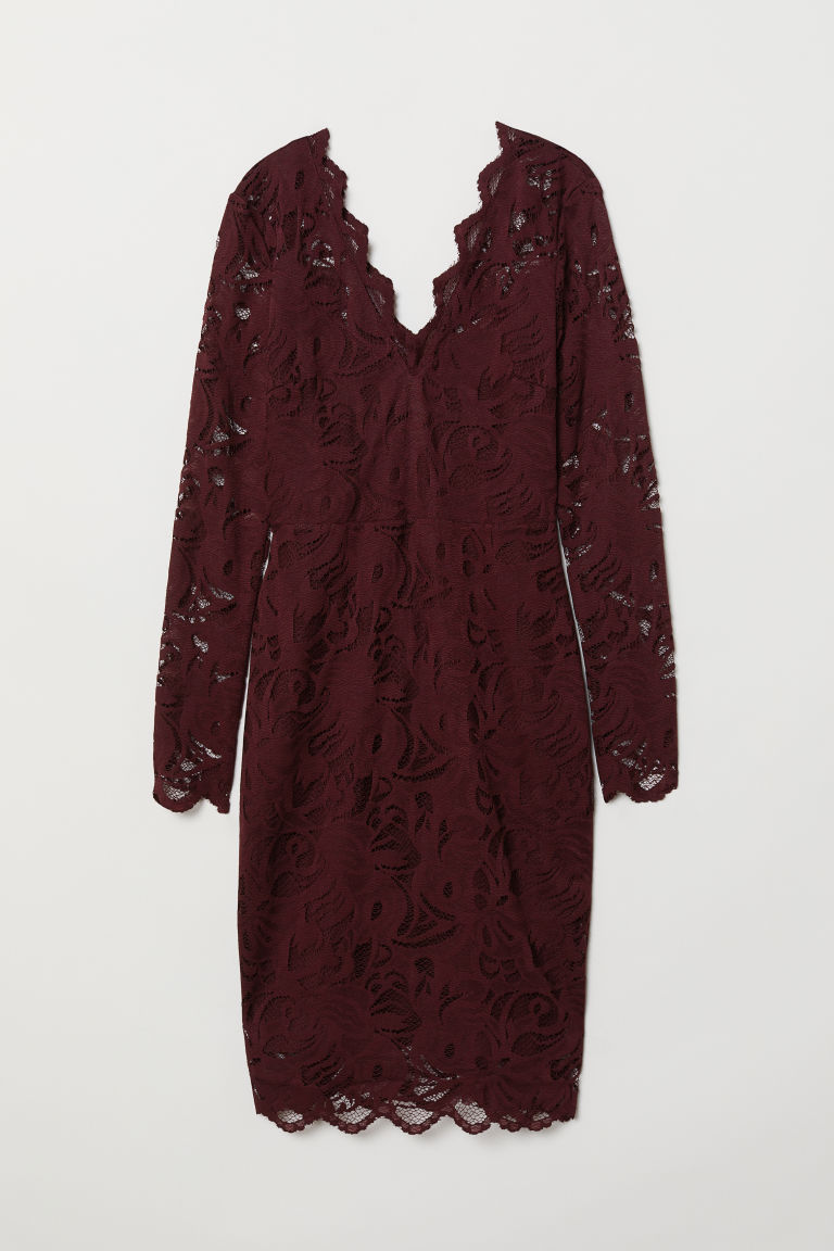 Fitted lace dress - Burgundy - Ladies | H&M CN
