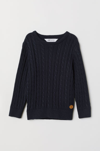 Cable-knit jumper - Dark blue - Kids | H&M
