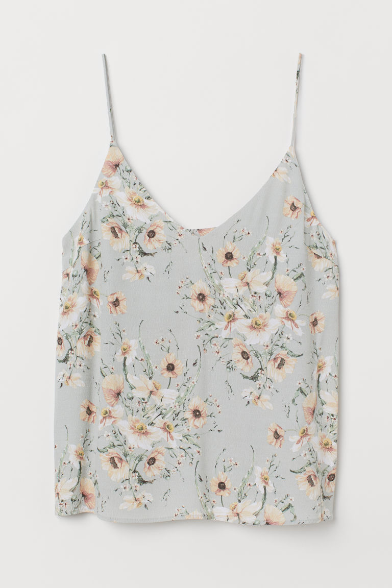 V-neck strappy top - Light green/Floral - Ladies | H&M