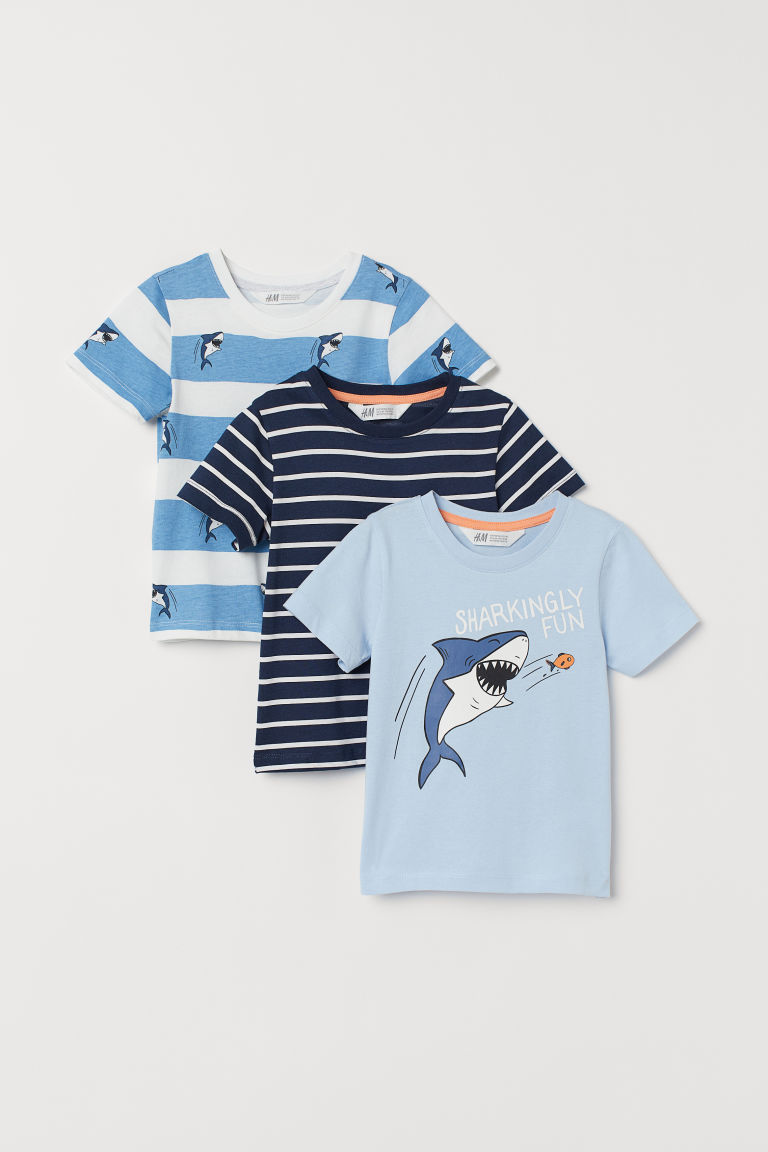 3-pack T-shirts - Light blue/Shark - Kids | H&M GB
