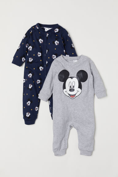 Pyjamas, lot de 2 - Gris chiné/Mickey - ENFANT | H&M FR
