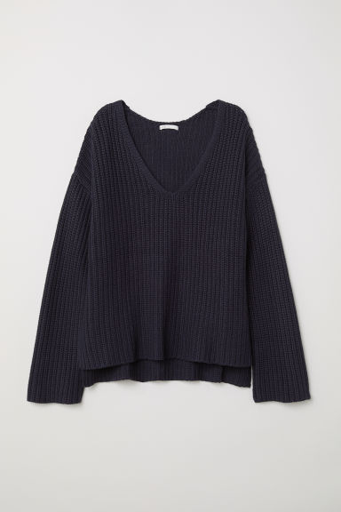 Ribbed jumper - Dark blue - Ladies | H&M