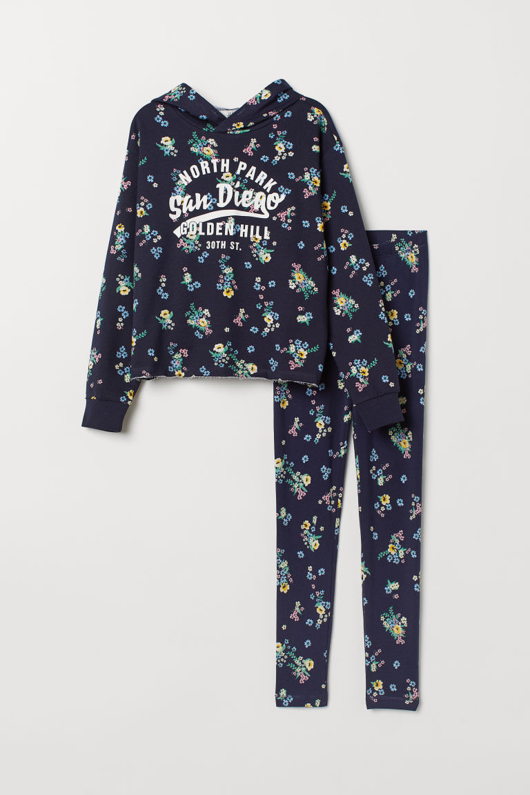 Hooded top and leggings - Dark blue/Floral - Kids | H&M GB