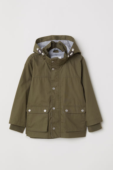 Cotton parka - Dark khaki green - Kids | H&M CN
