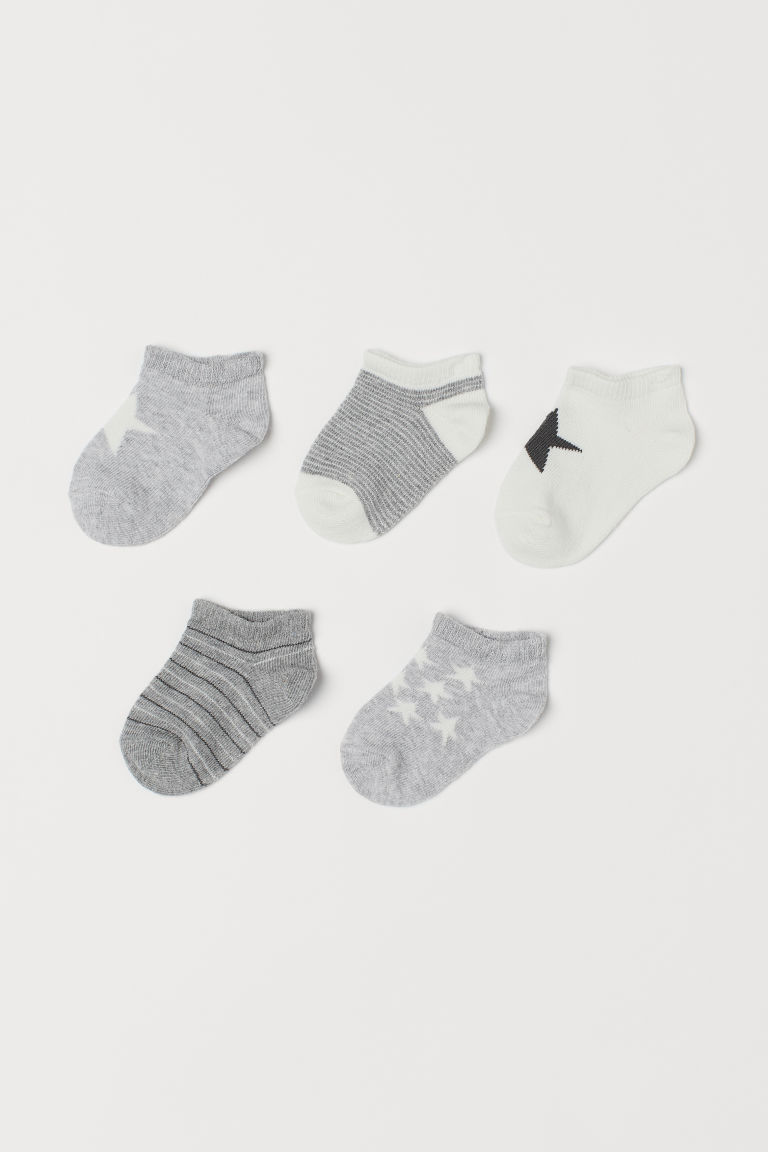 5-pack trainer socks - Light grey/Star - Kids | H&M CN