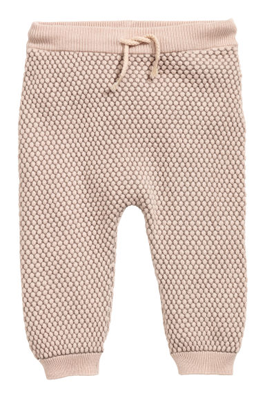 Textured-knit trousers - Powder pink -  | H&M CN