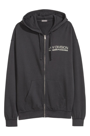 Printed hooded jacket - Grey-black/Joy Division -  | H&M