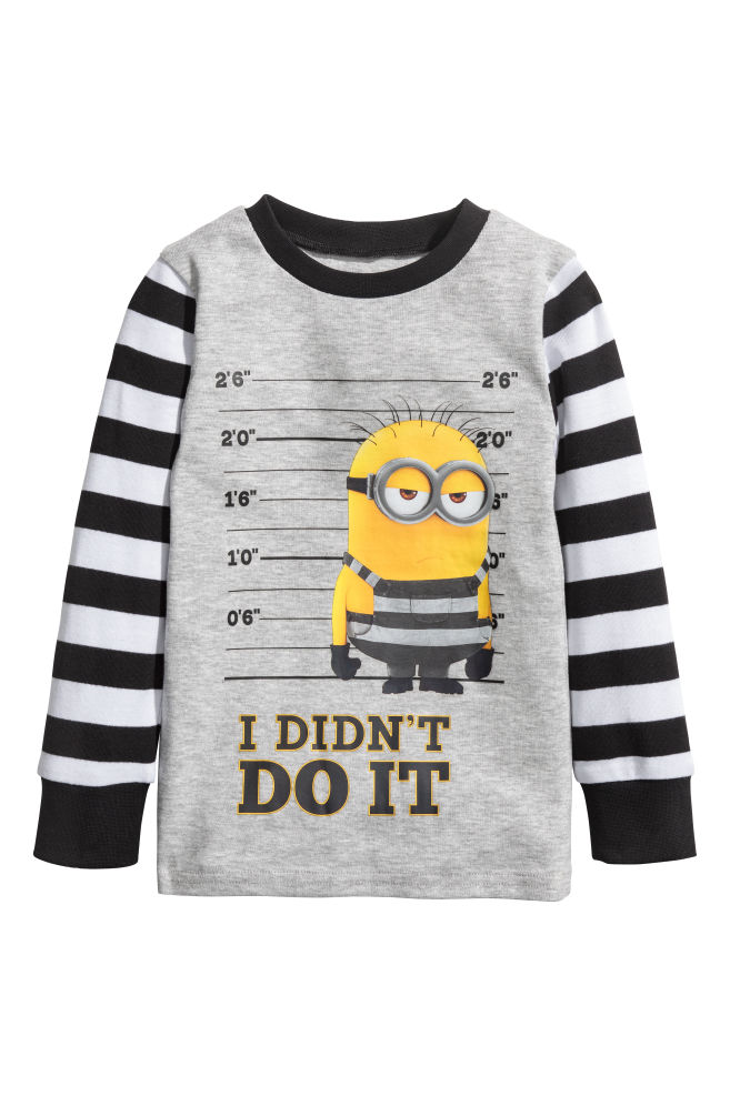 Jersey pyjamas - Lys grå Minions - BARN  4bb7dca6dae8b