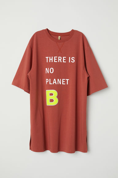 T-shirtjurk met tekstprint - Roestrood/Planet B - DAMES | H&M BE