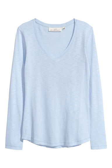 Slub jersey top - Light blue - Ladies | H&M CN