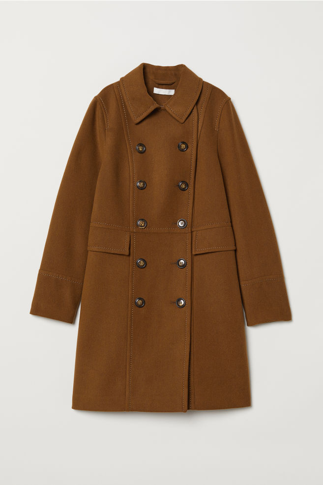 3da37aa6982 Double-breasted Coat - Dark camel - Ladies