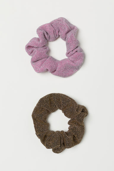 2-pack Glittery Scrunchies - Gold-colored/pink - Ladies | H&M US