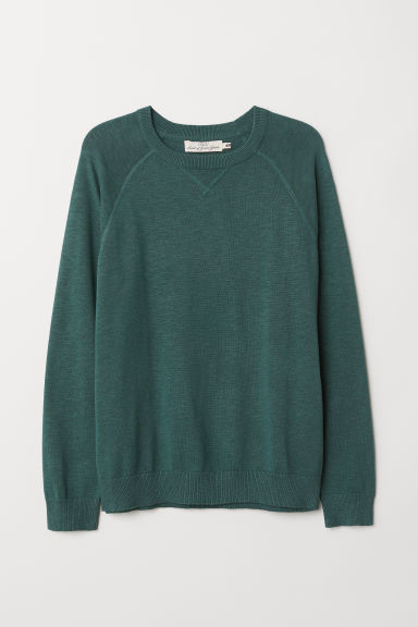 Cotton raglan-sleeved jumper - Dark green - Men | H&M