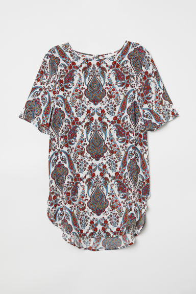 Crêpe top - White/Paisley-patterned - Ladies | H&M