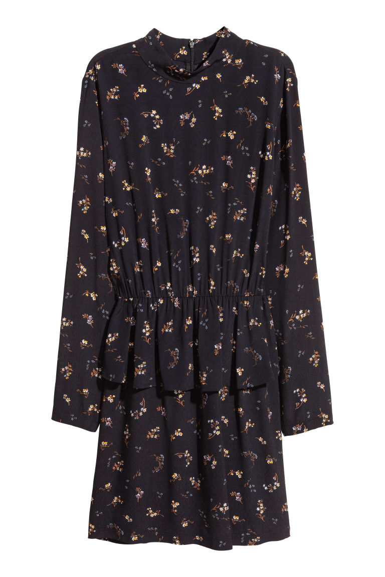 Dress with a flounce - Black/Small floral - Ladies | H&M