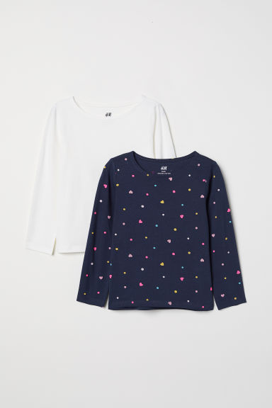 2-pack long-sleeved tops - Dark blue/Hearts -  | H&M