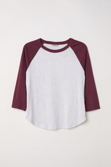 H&M+ Long-sleeved top - White/Burgundy -  | H&M