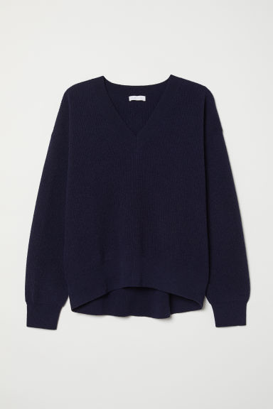 Knitted wool jumper - Dark blue - Ladies | H&M CN