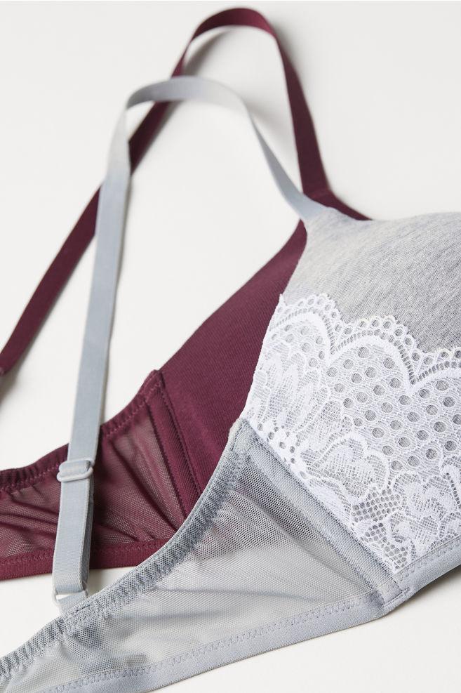 9c49bcbf153a 2-pack Soft-cup Bras - Light gray melange burgundy - Ladies