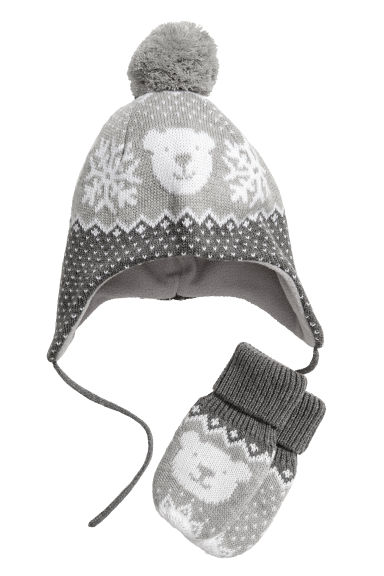 Hat and mittens - Grey/Bear - Kids | H&M