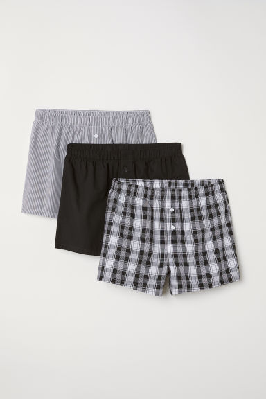 3-pack woven boxer shorts - Black/Checked - Men | H&M IN