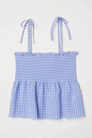 Peplum top with smocking - Blue/White checked -  | H&M