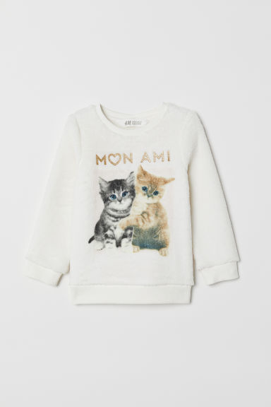 Fleece sweatshirt - Natural white/Cats - Kids | H&M CN