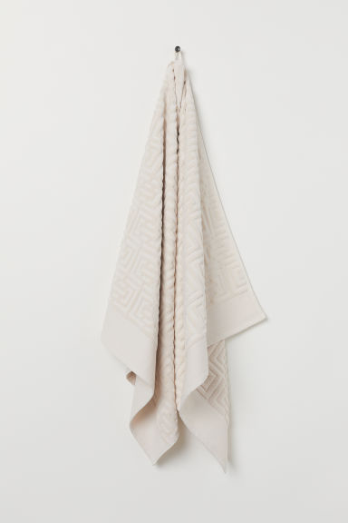 Serviette de bain jacquard - Beige clair - Home All | H&M FR