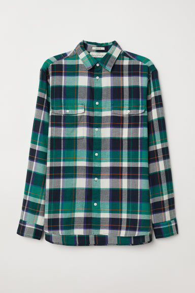 Flannel shirt Regular Fit - Green/Checked - Men | H&M GB