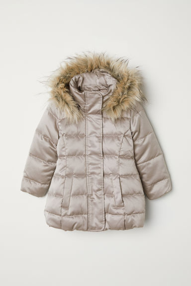 Hooded down jacket - Light mole - Kids | H&M CN