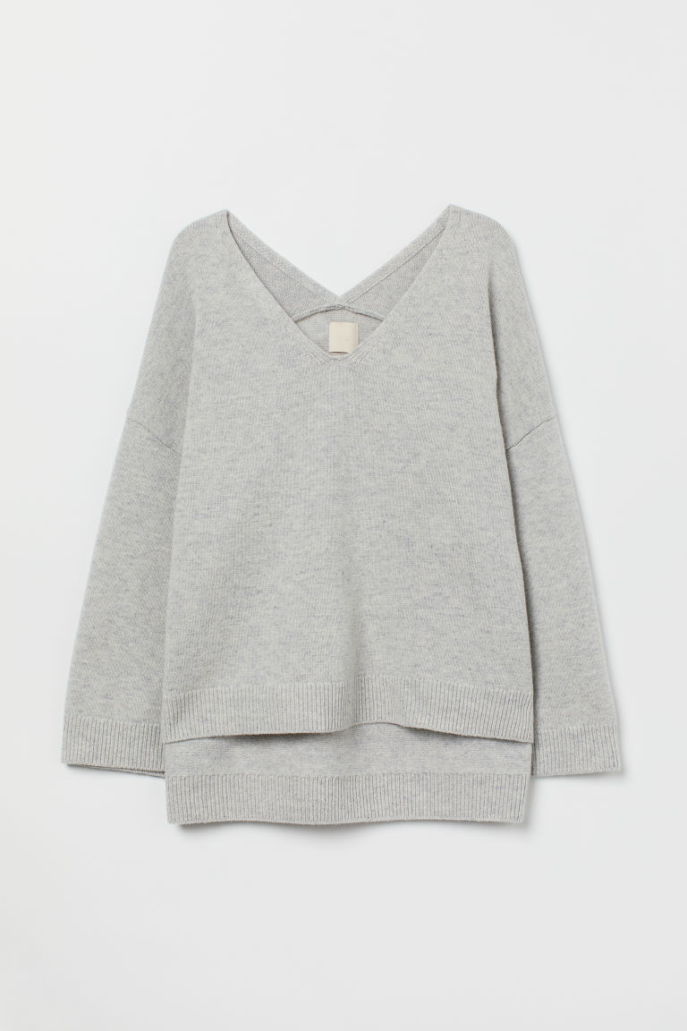 Oversized wool jumper - Light grey marl - Ladies | H&M GB