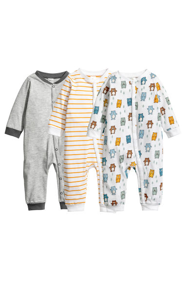3-pack all-in-one pyjamas - White/Bears - Kids | H&M