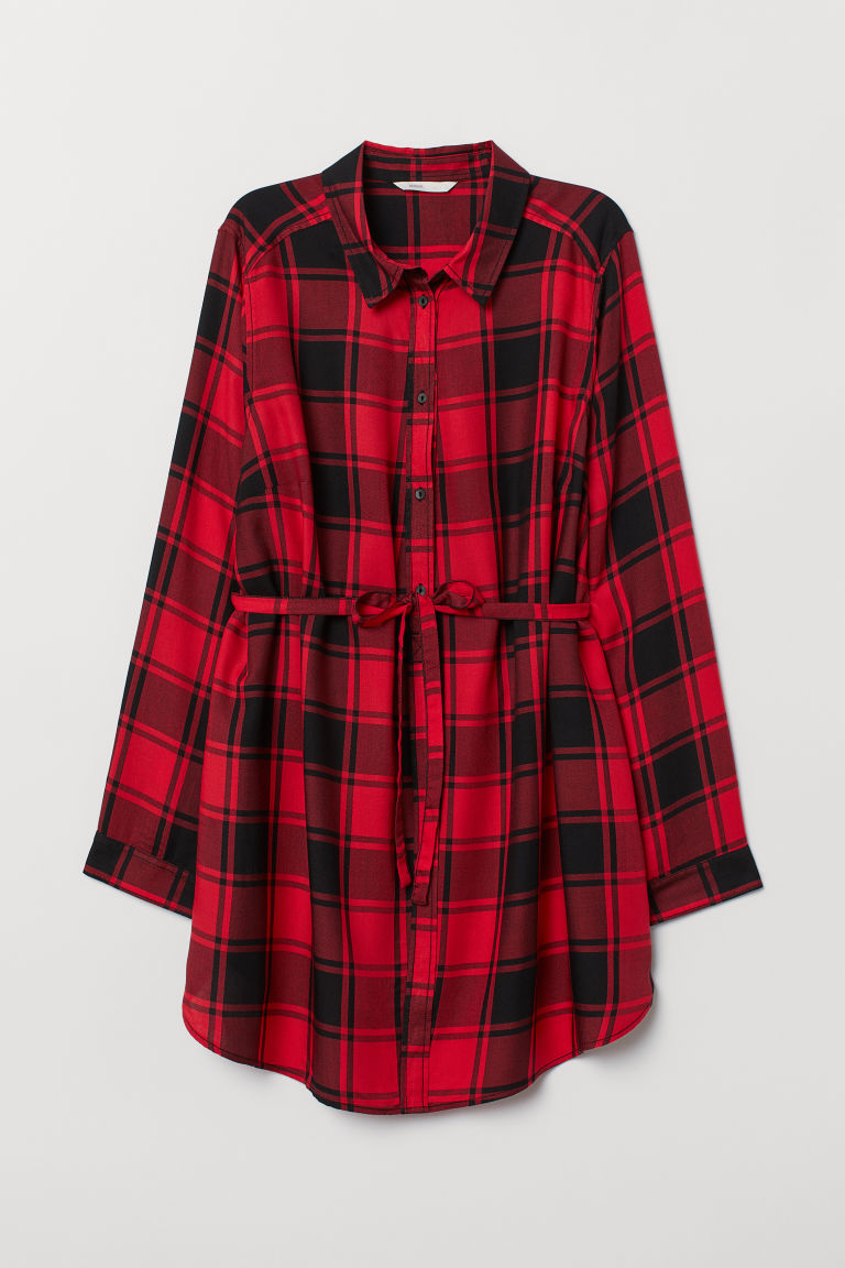 MAMA Cotton tunic - Red/Black checked - Ladies | H&M CN