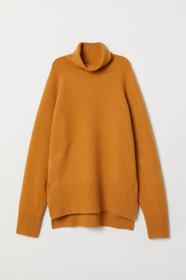 Wool-blend polo-neck jumper - Mustard yellow - Ladies | H&M CN