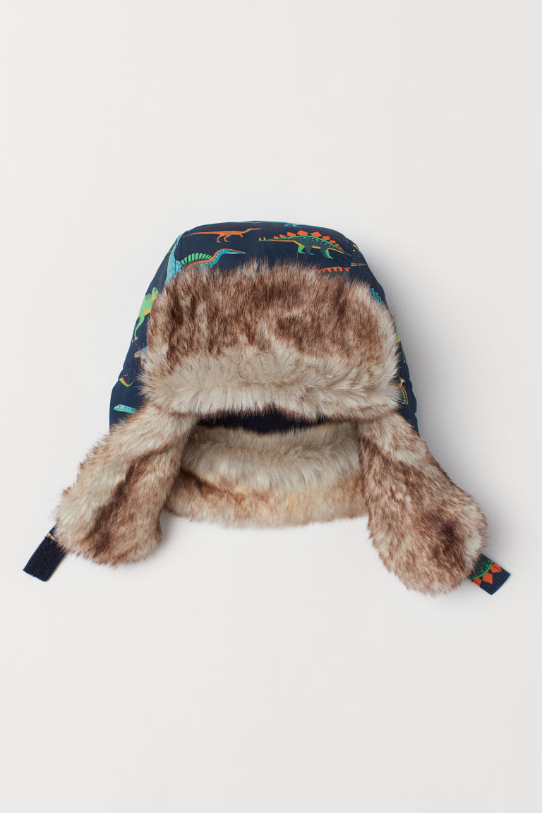 Hat with earflaps - Dark blue/Dinosaurs - Kids | H&M