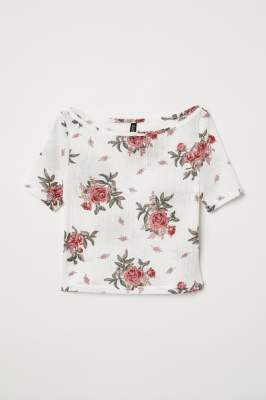 Top in jersey a costine - Bianco/fiori - DONNA | H&M IT
