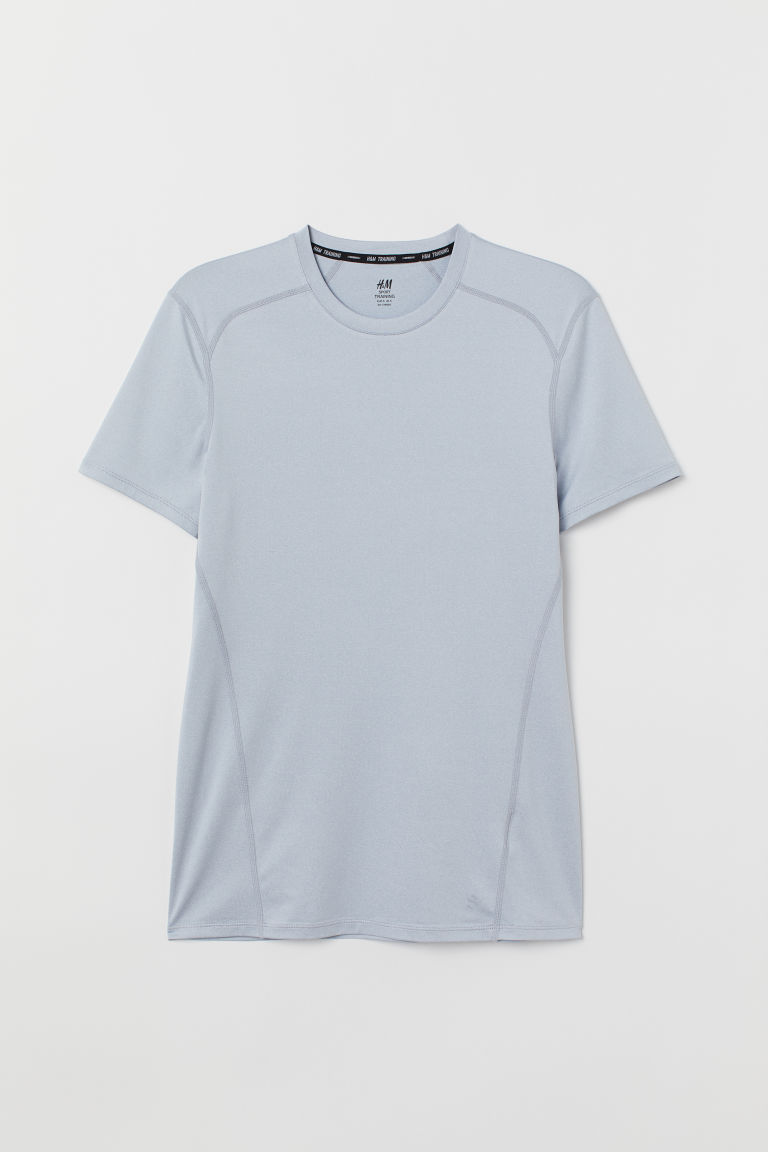 Short-sleeved sports top - Light blue-grey - Men | H&M