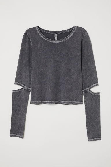 Short jersey top - Dark grey -  | H&M GB