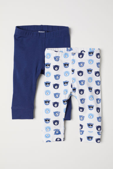 2-pack cotton leggings - White/Bears - Kids | H&M