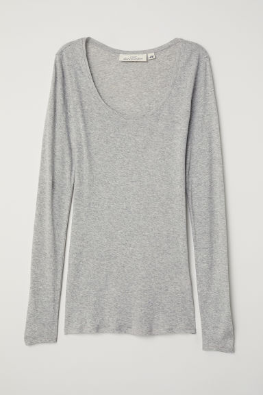 Long-sleeved jersey top - Light grey -  | H&M