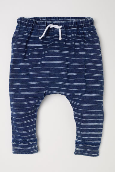 Striped jersey trousers - Dark blue/Striped - Kids | H&M