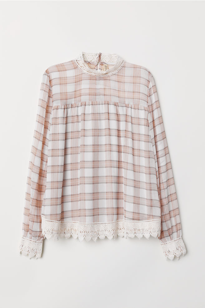 1851d550d39eea Chiffon blouse with lace - Light grey/Checked - Ladies   H&M ...