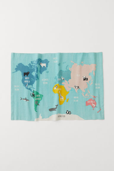 World map cotton rug - Turquoise/Animals - Home All | H&M CN