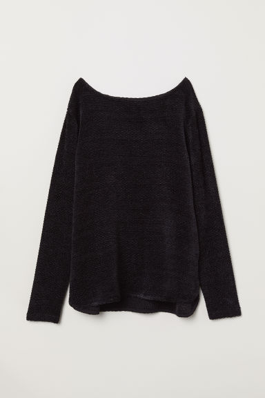 Boat-necked jersey top - Black/Chenille - Ladies | H&M CN