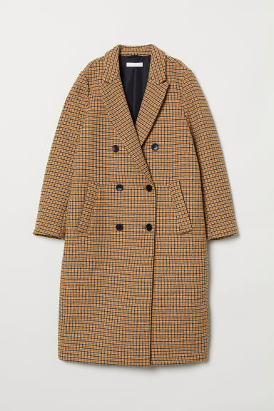 Double-breasted coat - Beige/Dogtooth-patterned - Ladies | H&M