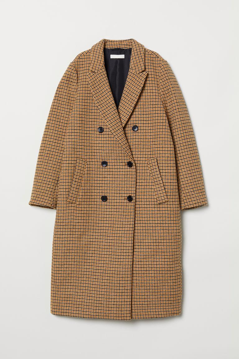 Manteau à double boutonnage - Beige/motif pied-de-poule - FEMME | H&M FR 5