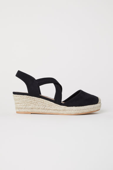 Wedge-heel sandals - Black - Ladies | H&M
