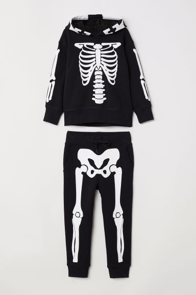 Hooded top and joggers - Black/Skeleton -  | H&M